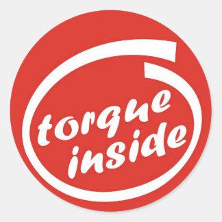 Fast racing car engine: torque or horsepower (hp) round sticker