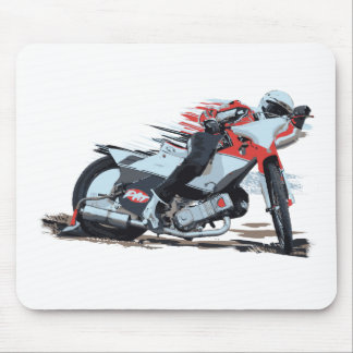 Fast Red Speedway Motorcycle Mouse Pad