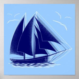 Fast sailing nautical poster