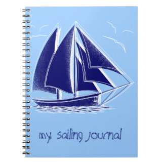 Fast sailing! nautical, vintage, personalized spiral note book