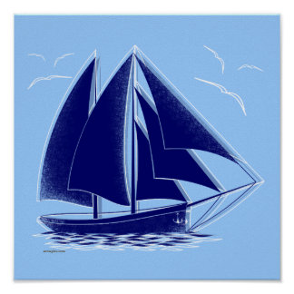 Fast sailing! nautical, vintage. poster