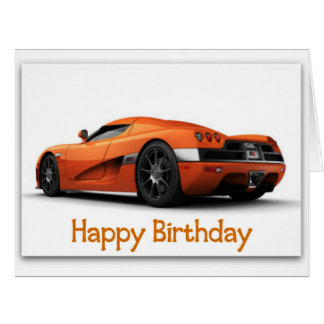 Fast Sports Car Jumbo Birthday Card