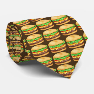 Fastfood Hamburger pattern food tie