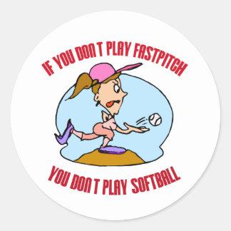 Fastpitch is Softball Round Sticker
