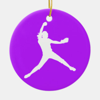 Fastpitch Ornament w/Name Purple