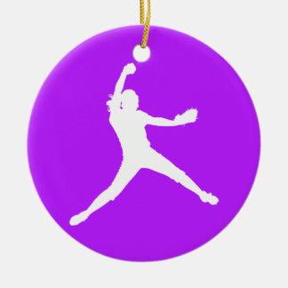 Fastpitch Ornament w/Name Purple