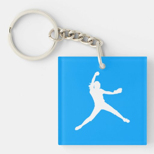 Fastpitch Silhouette Acrylic Keychain Blue