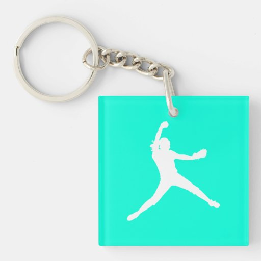 Fastpitch Silhouette Acrylic Keychain Turquoise