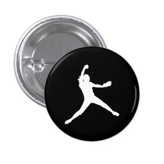 Fastpitch Silhouette Button Black
