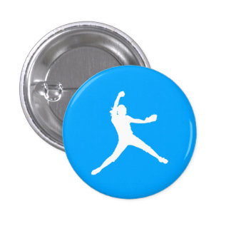 Fastpitch Silhouette Button Blue