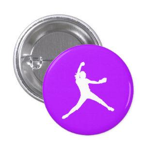 Fastpitch Silhouette Button Purple