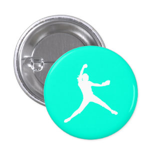 Fastpitch Silhouette Button Turquoise