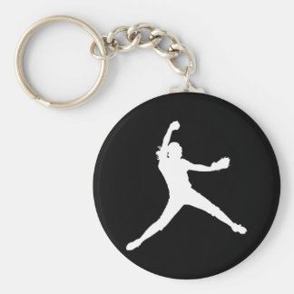 Fastpitch Silhouette Keychain White on Black