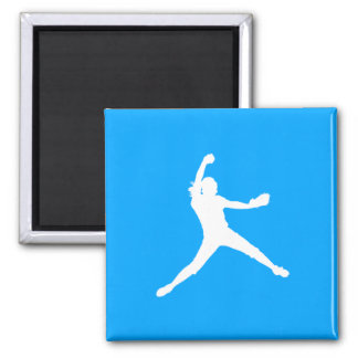 Fastpitch Silhouette Magnet Blue