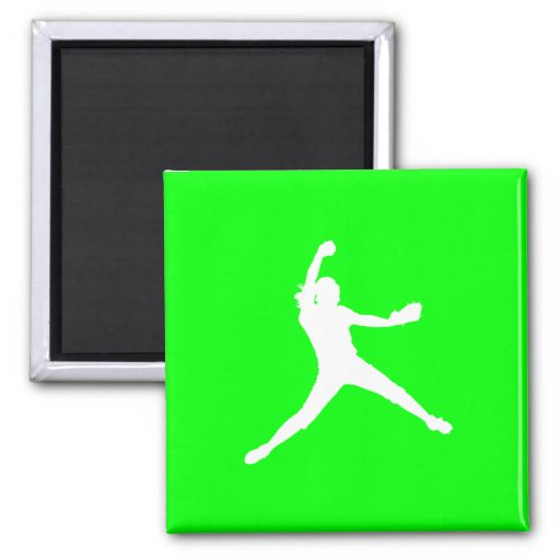 Fastpitch Silhouette Magnet Green