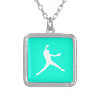Fastpitch Silhouette Necklace Turquoise