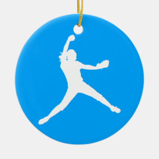 Fastpitch Silhouette Ornament Blue