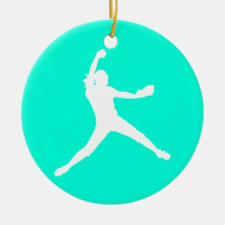 Fastpitch Silhouette Ornament Turquoise