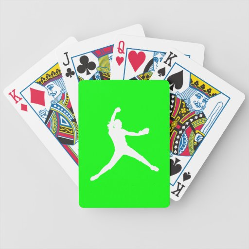 Fastpitch Silhouette Playing Cards Green