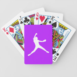 Fastpitch Silhouette Playing Cards Purple