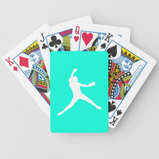 Fastpitch Silhouette Playing Cards Turquoise
