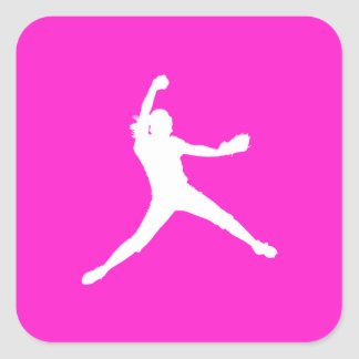 Fastpitch Silhouette Sticker Pink