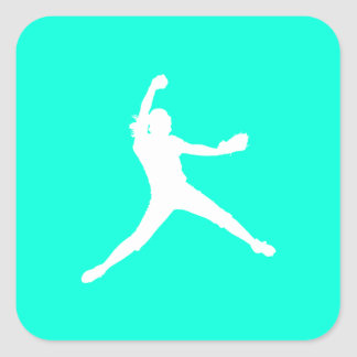 Fastpitch Silhouette Sticker Turquoise