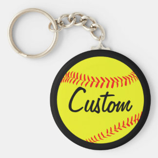 Fastpitch Softball Black or Custom Color & Text Keychain