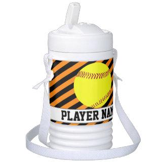 Fastpitch Softball Orange Black Team & Player Name Drinks Cooler