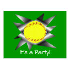Fastpitch Softball Party Invitation Postcard