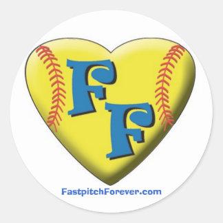 FastpitchForever com Heart Logo Round Stickers