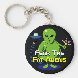 Fat Alien Invasion Basic Round Button Keychain