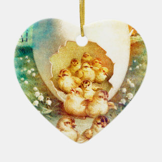 FAT AND SASSY EASTER HATCHLINGS CERAMIC HEART ORNAMENT