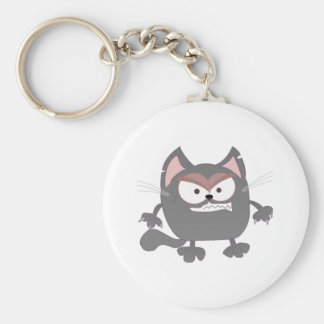 Fat Angry Grey Kitty Cat Basic Round Button Keychain