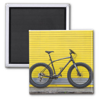 Fat bike on yellow wall magnet