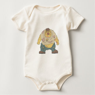 Fat Blind Creepy Zombie With Rotting Flesh Outline Baby Bodysuit