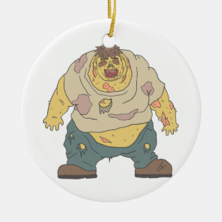 Fat Blind Creepy Zombie With Rotting Flesh Outline Ceramic Ornament