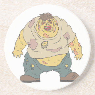 Fat Blind Creepy Zombie With Rotting Flesh Outline Coaster