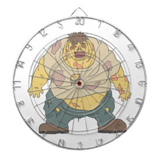 Fat Blind Creepy Zombie With Rotting Flesh Outline Dartboard