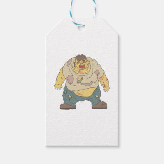 Fat Blind Creepy Zombie With Rotting Flesh Outline Gift Tags