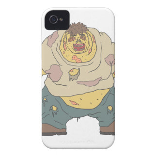 Fat Blind Creepy Zombie With Rotting Flesh Outline iPhone 4 Case