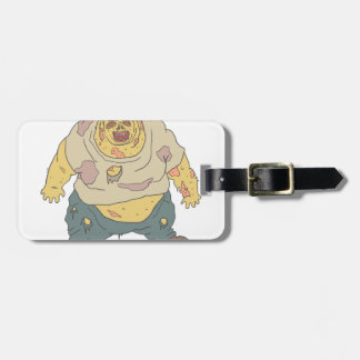 Fat Blind Creepy Zombie With Rotting Flesh Outline Luggage Tag