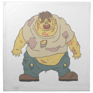 Fat Blind Creepy Zombie With Rotting Flesh Outline Napkin