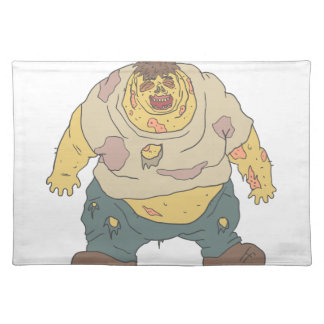 Fat Blind Creepy Zombie With Rotting Flesh Outline Placemat