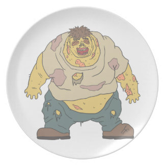 Fat Blind Creepy Zombie With Rotting Flesh Outline Plate