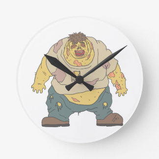 Fat Blind Creepy Zombie With Rotting Flesh Outline Round Clock