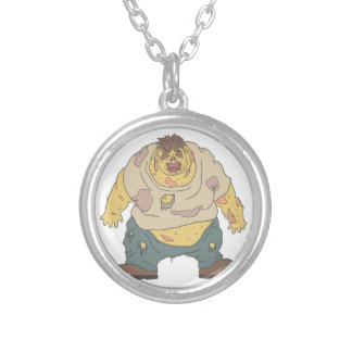 Fat Blind Creepy Zombie With Rotting Flesh Outline Silver Plated Necklace
