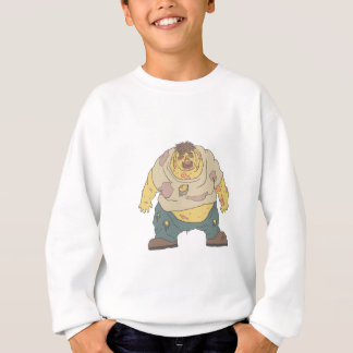 Fat Blind Creepy Zombie With Rotting Flesh Outline Sweatshirt