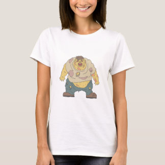 Fat Blind Creepy Zombie With Rotting Flesh Outline T-Shirt