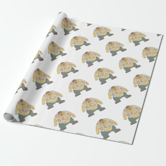 Fat Blind Creepy Zombie With Rotting Flesh Outline Wrapping Paper